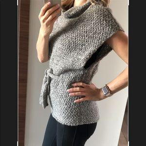 Theory Grey Soft Wool Knit Sleeveless Cowl Poncho